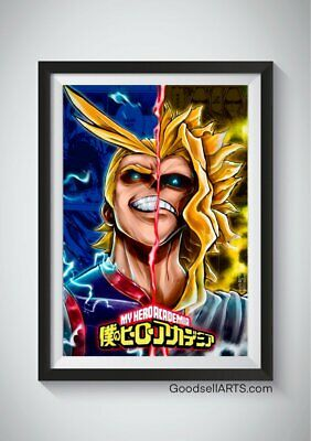 all might poster print my hero academia gift print bnha poster wall art fanar ebay