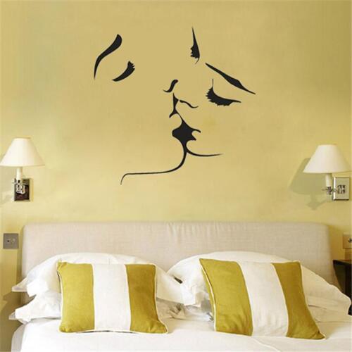 Fashion Wall Stickers Vinyl Kissing Couple Love Romantic Bedroom Wall Decor Cf