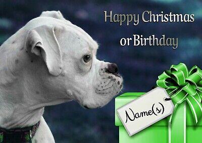 Personalised White Boxer Dog Christmas Or Birthday Card Illus Insert Ebay