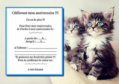 5 12 ou 14 cartes invitation anniversaire chat ref 36 ebay