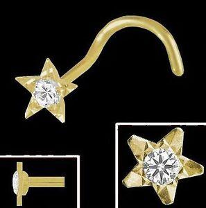 Gold 750 Nasenpiercing, Stern 3,2 mm mit gefassten Diamant Spirale Nasenstecker
