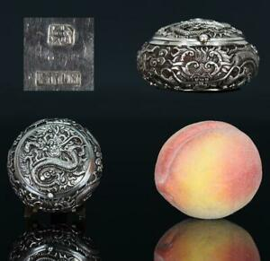 A BEAUTIFUL antique CHINESE SILVER DRAGON OPIUM SNUFF BOX 19TH CENTURY