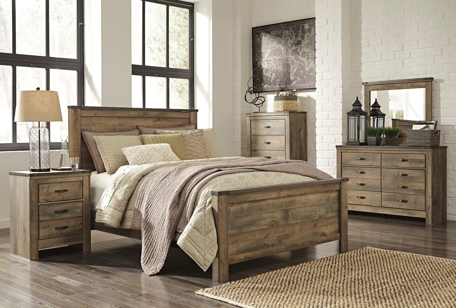 ashley trinell queen rustic 6 piece bed set furniture b446