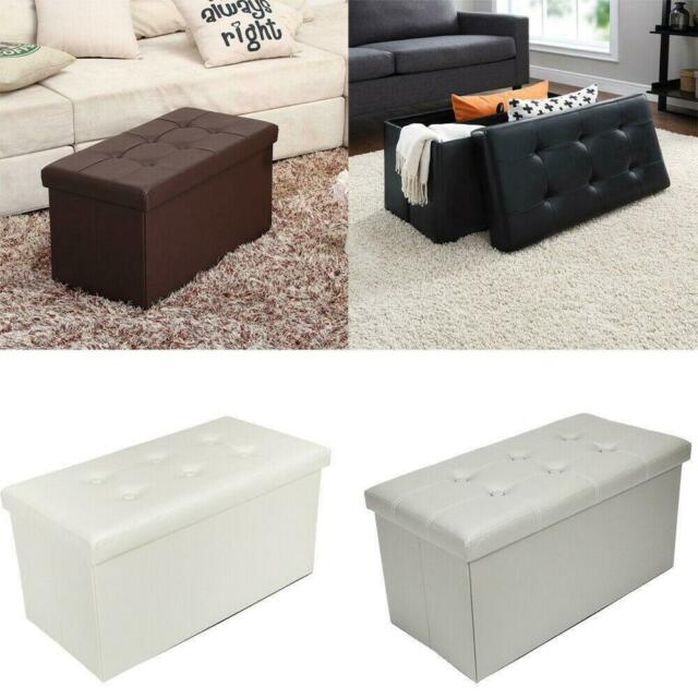 30 l leather folding storage ottoman faux leather storage bench footstools