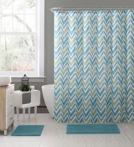 details about nova aqua blue green white fabric shower curtain chevron geometric design