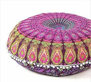 Ottomans & Footstools Special Section Indian Tie Dye Mandala Pouf Ottoman Cover Round Floor Footstool Ethnic Pouffe