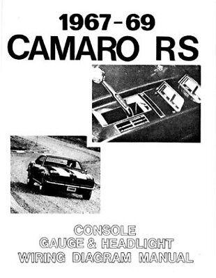 67 68 69 camaro rs headlight console  gauges wiring diagram manual  ebay