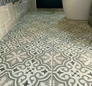 details about cut sample pattern grace silver grey white feature retro wall floor ceramic tile