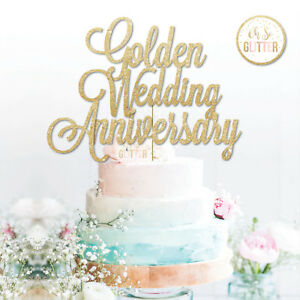 Golden wedding anniversary cake topper 50th Glitter gold fifty     Image is loading Golden wedding anniversary cake topper 50th Glitter gold