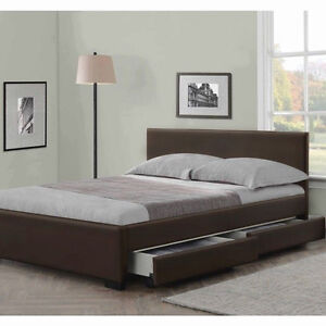 Image Is Loading 4 Drawers Leather Storage Bed Double Or King