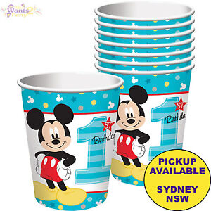 Mickey Mouse 1st Birthday Party Supplies 8 Pack Paper Cups Tableware Ebay