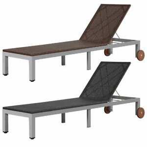 details sur vidaxl chaise longue resine tressee bain de soleil transat jardin marron noir