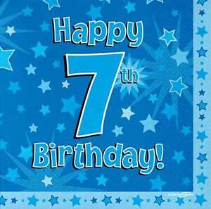 16 Pack Blue Boy 7 Today Happy 7th Birthday Stars Luncheon Paper Napkin 3ply Ebay