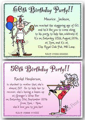 40th 50th 60th 70th 80th 90th personalised birthday party invites funny x10 j135 ebay