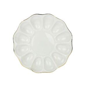 details sur assiette a oeufs porcelaine plat de service assiette a escargots blanc decor or