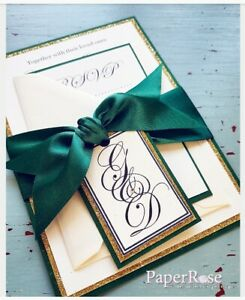 Details About Emerald Green And Gold Glitter Wedding Invitation Evening