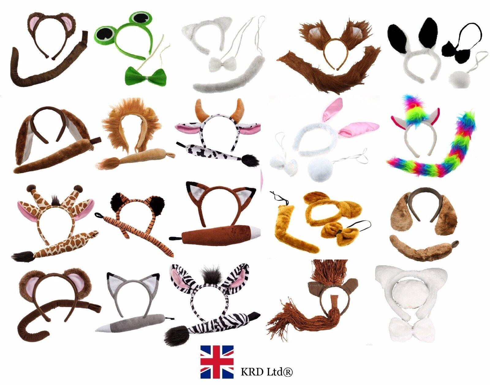 Animal Ears Bow Tail Set Costume Accessory Fancy Dress