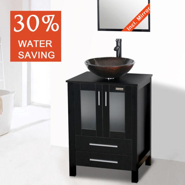 modern 24 bathroom vanity cabinet single top wood vessel glass sink black 2pcs