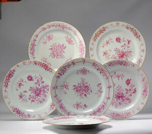 #5 Antique Chinese Porcelain 18th C Qianlong Period Famille Rose Dinner Plates