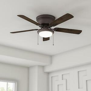 Led Flush Mount Ceiling Fan Sleek Low Profile Hugger Dome Light
