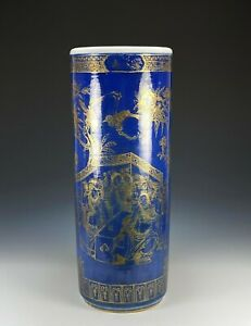 Large Antique Chinese Powder Blue and Gilt Porcelain Umbrella Stand