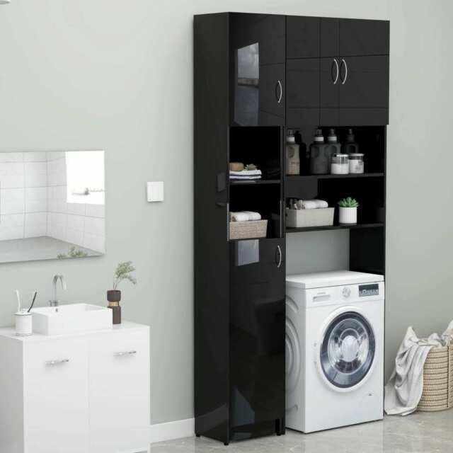 vidaxl meuble pour machine a laver noir brillant etagere salle de bain maison