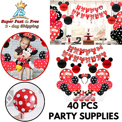 Mickey Minnie Birthday Party Supplies Banner Balloons Cake Topper Decoration Kit Ebay