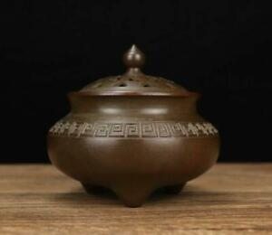 """Old Chinese Bronze Incense Burner With Pattern Qianlong MK H4.13"""""""