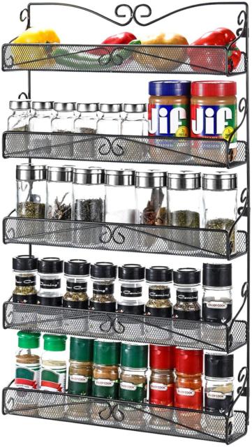 3s 5 tier wall mounted spice rack storage organizer
