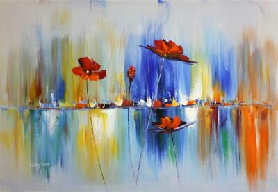 abstrait art moderne fleurs tableau peinture acrylique sur toile signee abstra ebay