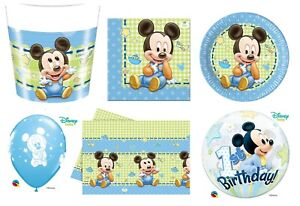 Baby Mickey Mouse 1st Birthday Party Tableware Decorations Boys Baby Shower Ebay