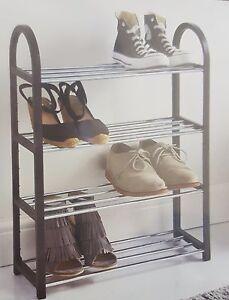 details about contemporary leo style 4 tier shoe rack cabinet shelf organiser black