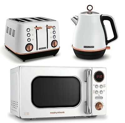 morphy richards evoke kettle and toaster set with microwave white rose gold ebay