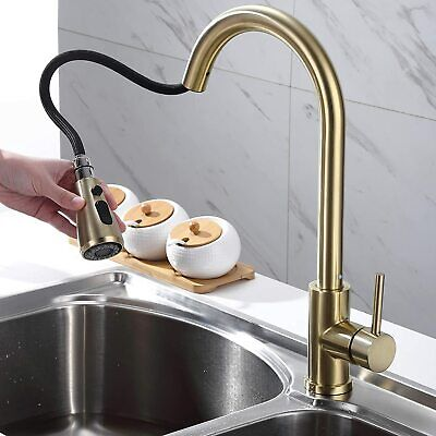 homary stainless steel sink faucet brushed gold kitchen tap pull out sprayer usa ebay