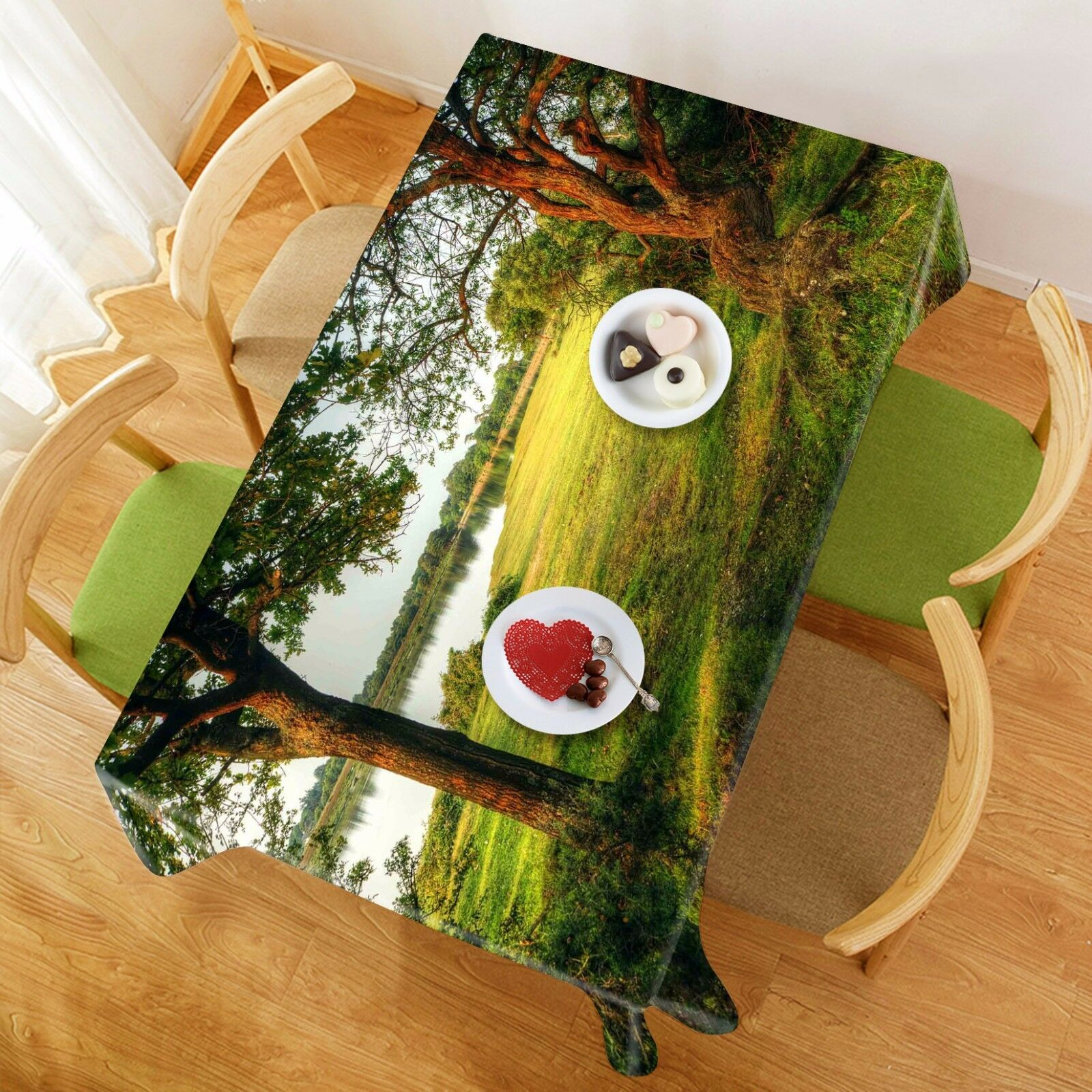 3D Lake Lake Lake Trees 302 Tablecloth Table Cover Cloth Birthday