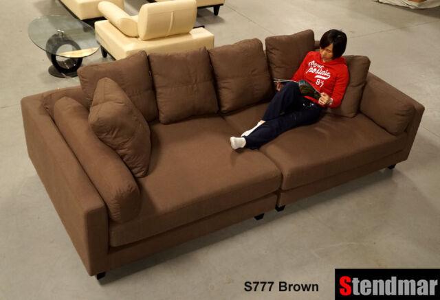 116 l x 58 d modern extra depth dark grey linen fabric sectional sofa s777bg