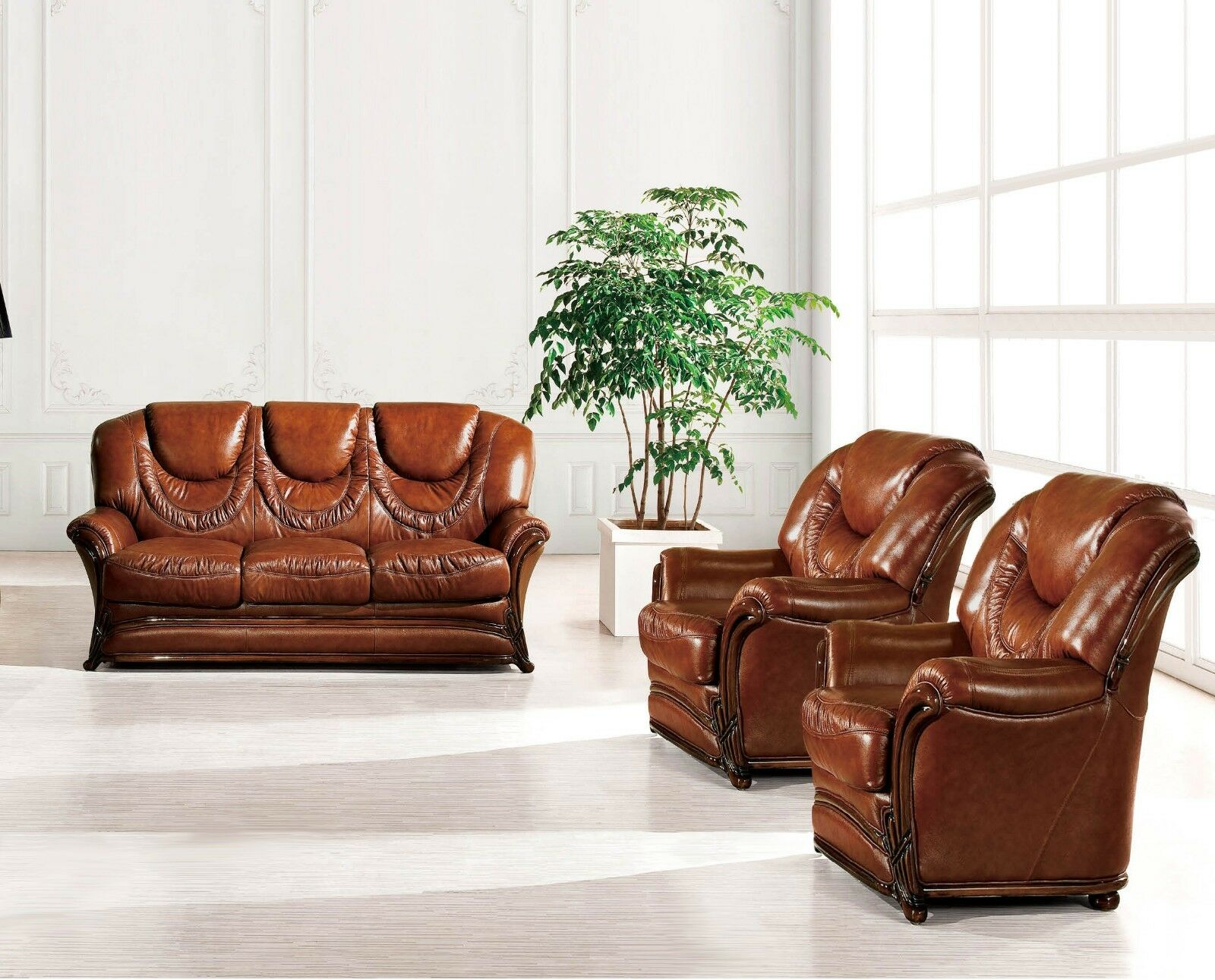 Bella Luxury Brown Italian Leather Sleeper Sofa 2 Chairs 3pc Set Carved Wood