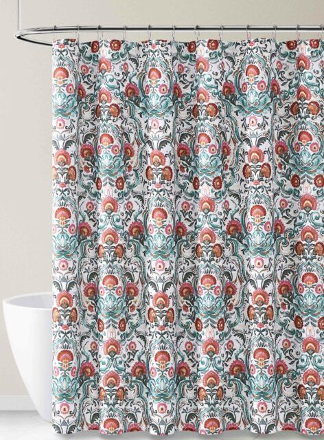 fabric shower curtain for bathroom white gray teal pink kaleidoscope design 72l