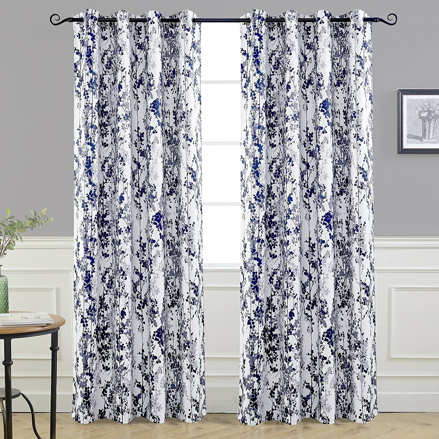 Ehs Sabrina Blue White Floral 36 Tier And Valance Set Kitchen Curtains For Sale Ebay