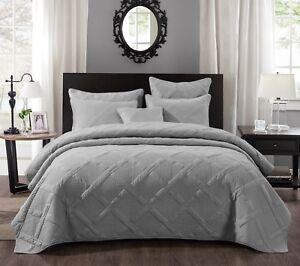 details about tache solid light grey silver cotton lightweight quilt coverlet bedspread set