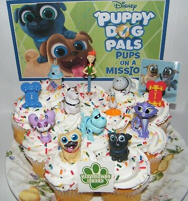 Disney Puppy Dog Pals Cake Toppers Set Of 14 W Figures Skateboards Tattoo Ebay