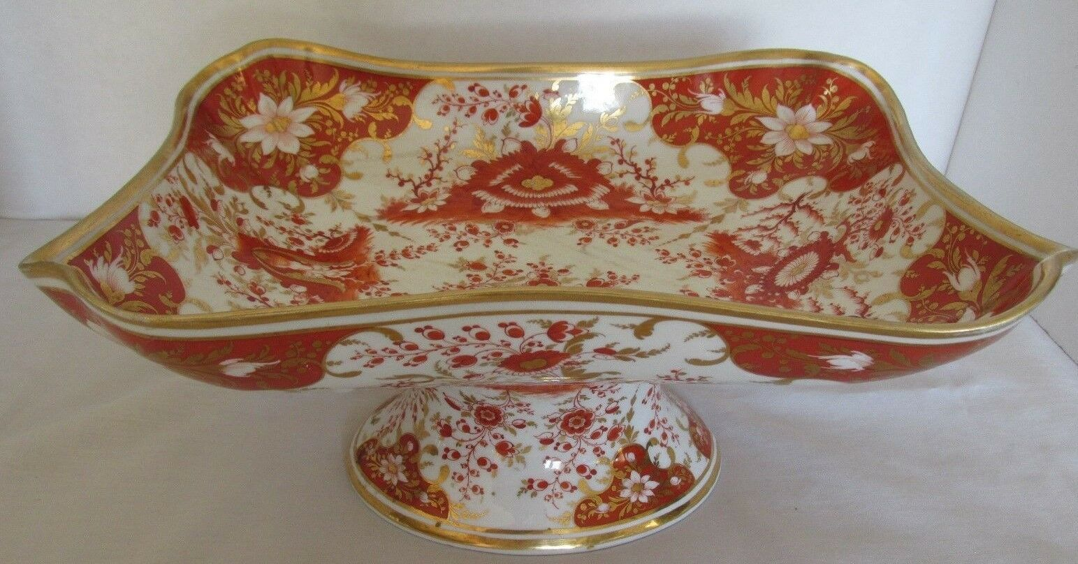 ANTIQUE CHAMBERLAINS WORCSTER GOLD ORANGE FLORAL 10 5/8″D X 5 1/2″H PDSTLD BOWL