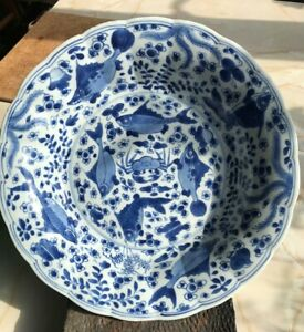 Two large Kangxi blue and white five different fishes & crab plates. 康熙