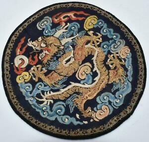 ANTIQUE C19th CHINESE IMPERIAL DRAGON SILK EMBROIDERED ROUNDEL PANEL