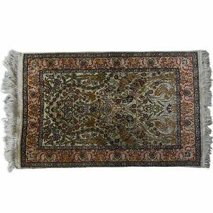 details sur tapis de priere ancien en laine et soie