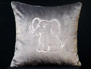 details about new embroidered very soft grey white baby elephant pillow 12 x 12 in insert