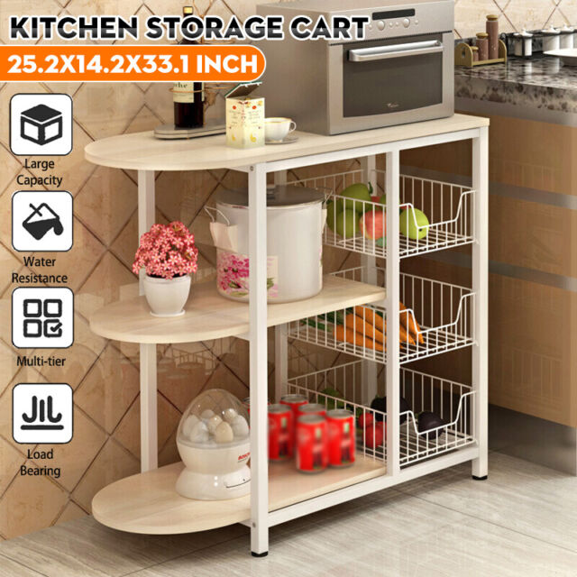 3 tiers kitchen storage cart microwave oven rack utility workstation stand shelf