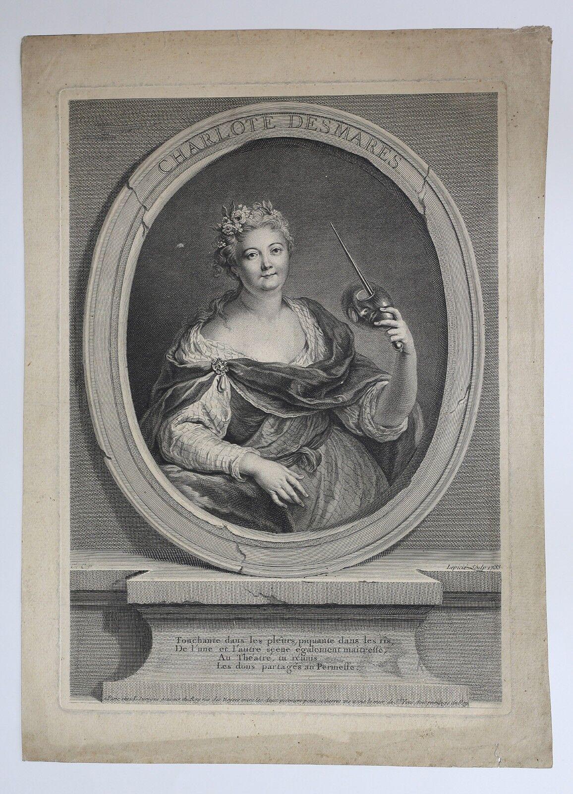 Francois Bernard Lépicié (1698-1755) Portrait Charlotte Desmares after Coypel