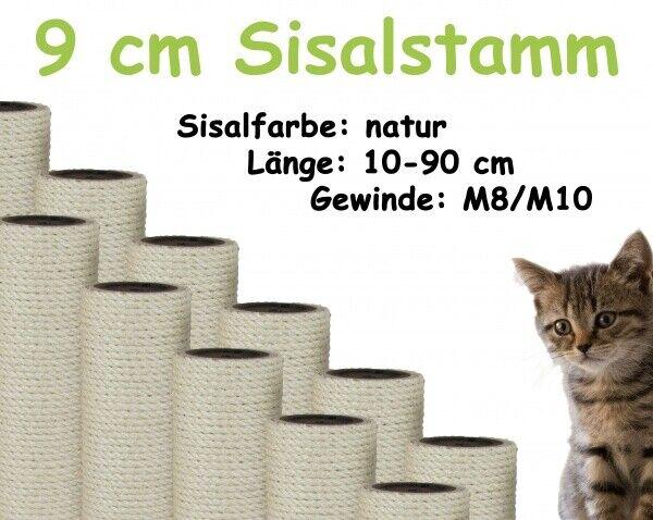 9 cm Sisalstamm, Ersatzstamm für Kratzbaum, 10-90 cm (M8/M10)