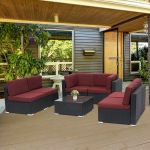 2 Pc Outdoor Pe Rattan Wicker Patio Loveseat And Ottoman Furniture Set For Sale Online Ebay